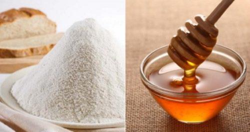 Для самого простого рецепта потребуется смешать в емкости по 1 ст. л. меда, муки и любого растительного масла